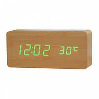 Часы электронные цифровые VST 865 с зеленой подсветкой, бежевые