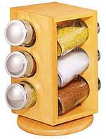 Набор для специй на подставке Stenson Woody MS-0369, 7 предметов
