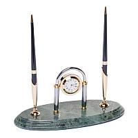 Подставка настольная для ручек с часами мраморная 24х10 см BST 540038