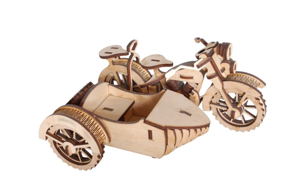 Деревянный 3D-пазл РЕЗАНОК Мотоцикл с коляской 124 элемента (REZ0003)