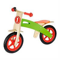 Беговел детский двухколесный деревянный Viga Toys для малышей (Беговел дерев'яний цветной со звонком велобег)