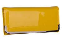 Женский модный 0505 желтый кошелек на кнопке лакированный