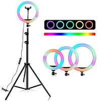 Кольцевая LED лампа MJ26 RGB 25 Вт, 26 см (разноцветная, штатив 210 см)