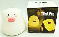 Силиконовый ночник - свинка, Mini Pig (на батарейках)