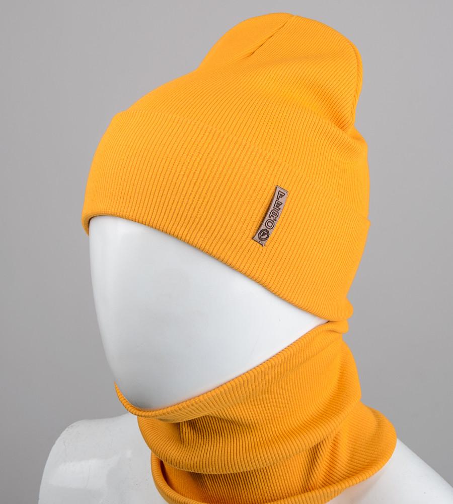 Комплект шапка и бафф Fero опт (20222), Горчица