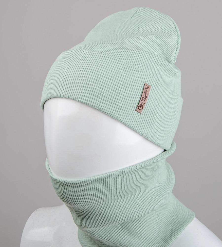 Комплект шапка и бафф Fero опт (20222), Мята