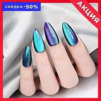 Магнитный лак для ногтей голубой
