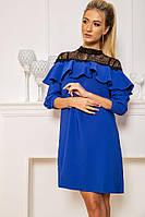 Нарядное платье А-силуэта с воланом и вставками из гипюра