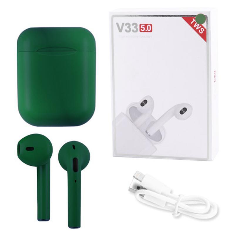 Наушники беспроводные Bluetooth 5.0 V33 TWS сенсорные, блютуз стерео гарнитура, зеленые