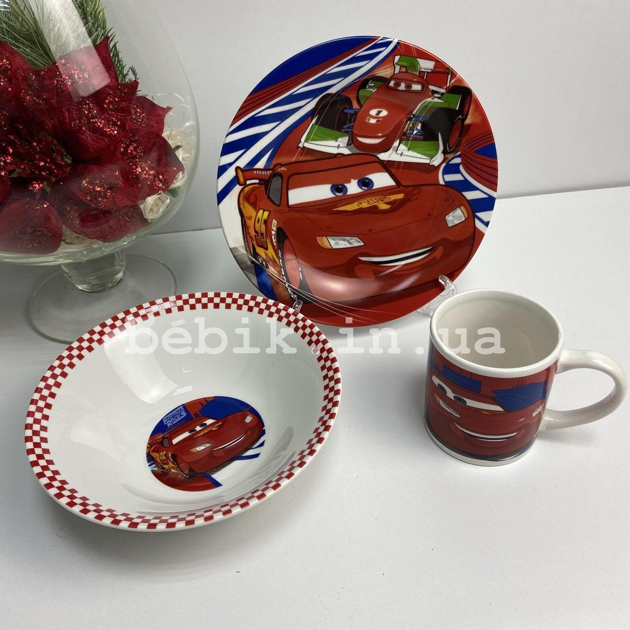 Керамический набор посуды для детей Тачки