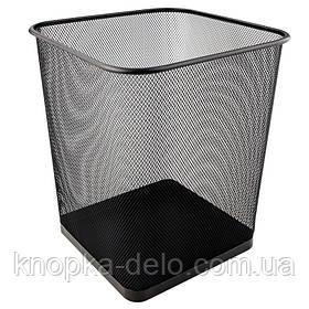 Корзина 2124-01-А для бумаг квадратная, металлическая сеточка. Размер 270x300мм. Цвет: черный.