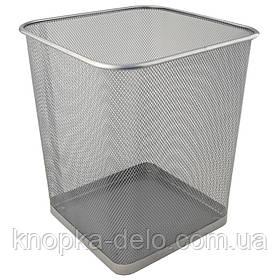 Корзина для бумаг 2124-03-А квадратная, металлическая сеточка. Размер 270x300мм. Цвет: серебристый.