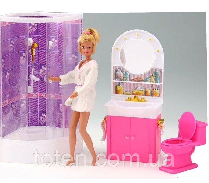 Набор мебели для кукол Gloria Ванная комната с душевой кабиной 98020  умывальник с зеркалом и тумбой, унитаз Т
