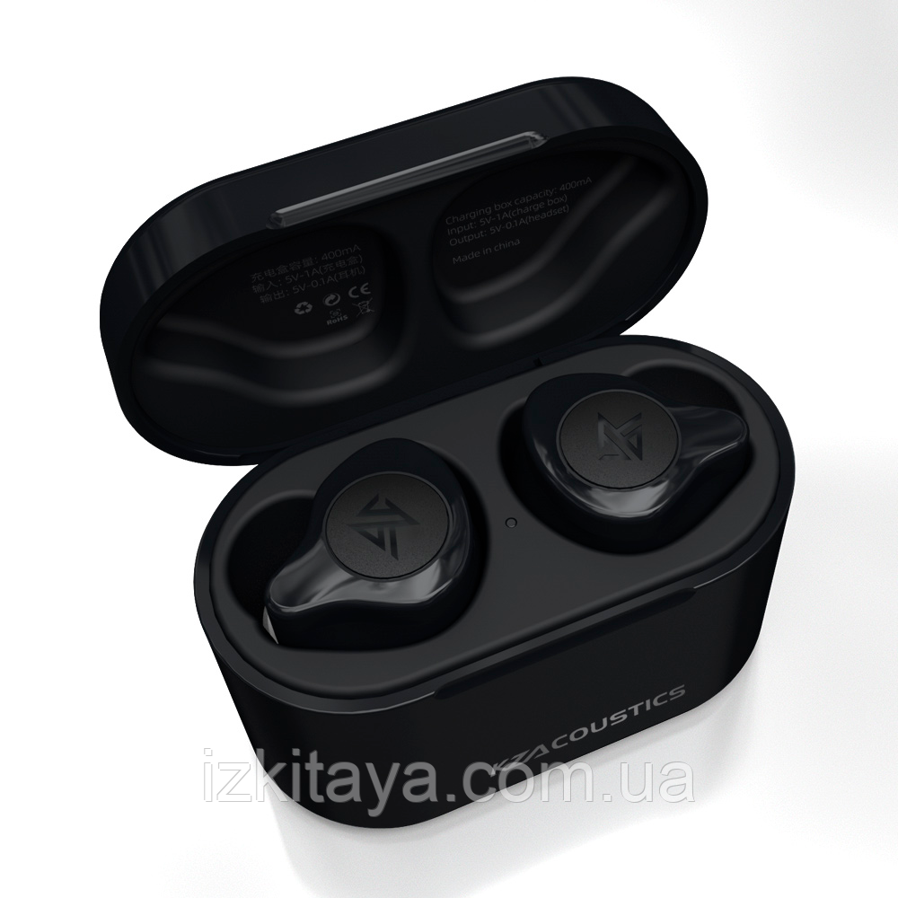 Бездротові навушники KZ S2 TWS black Bluetooth навушники з блютузом