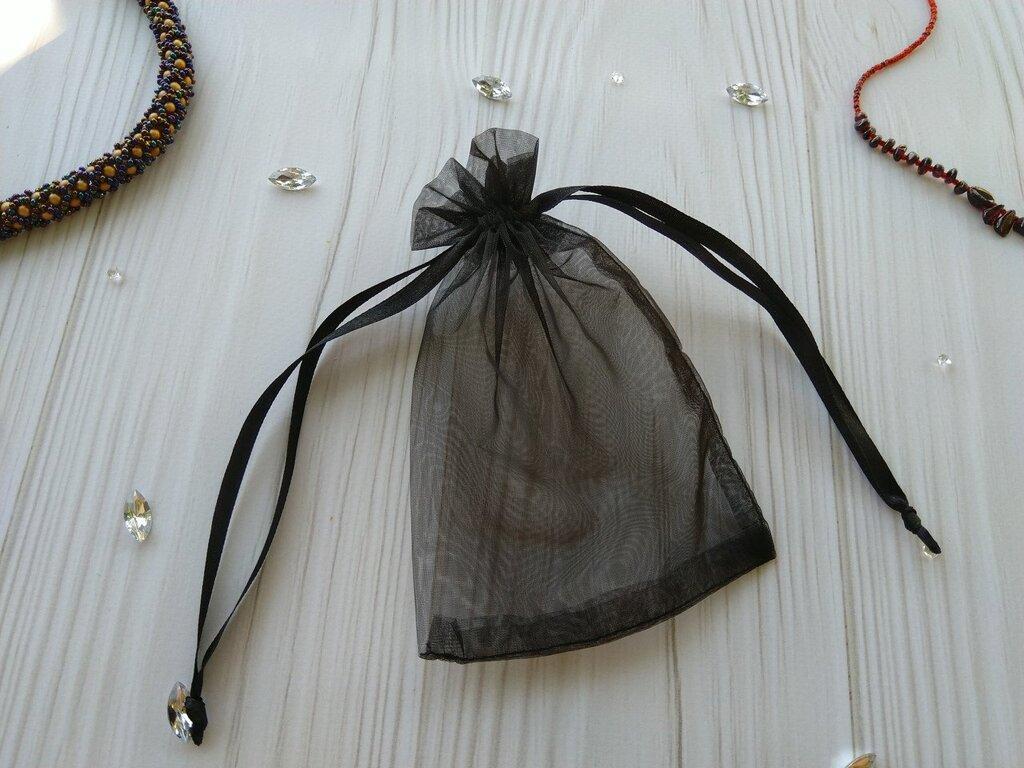 Подарочный мешочек из органзы для украшений 5х7 см Черный
