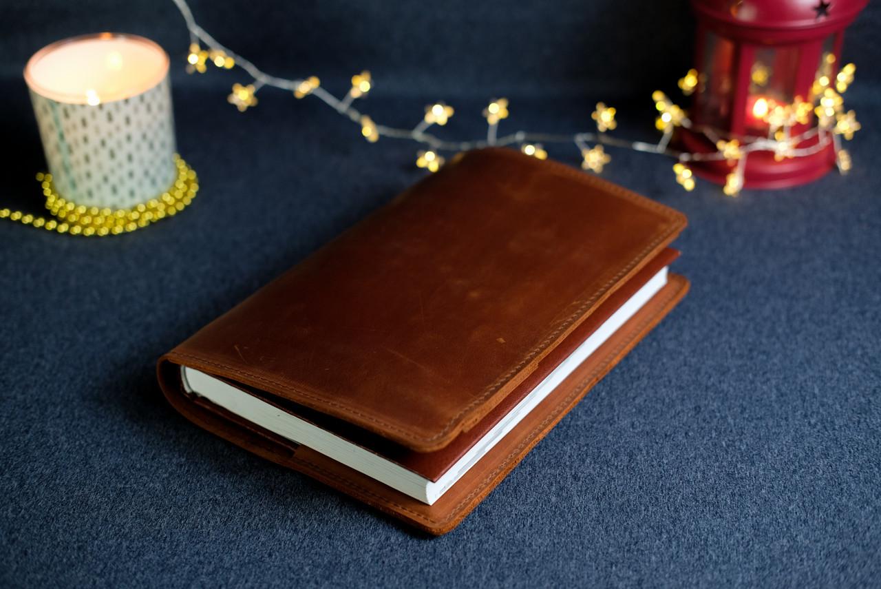"""Обложка с пеналом для ежедневника формата А5 """"Модель №16"""", Винтажная кожа, цвет Коньяк"""
