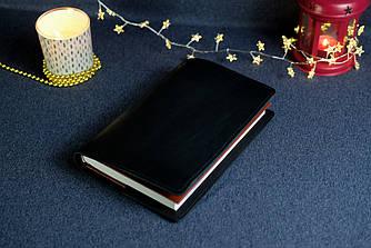 """Обложка с пеналом для ежедневника формата А5 """"Модель №16"""", Кожа Итальянский краст, цвет Черный"""