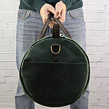 Дорожная сумка tube mini зелёная из натуральной кожи crazy horse, фото 8