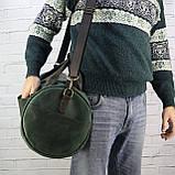 Дорожная сумка tube mini зелёная из натуральной кожи crazy horse, фото 10