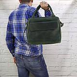Портфель gs a4 зеленый из натуральной кожи crazy horse, фото 7