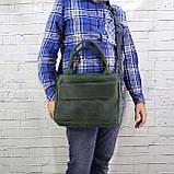 Портфель gs a4 зеленый из натуральной кожи crazy horse, фото 9
