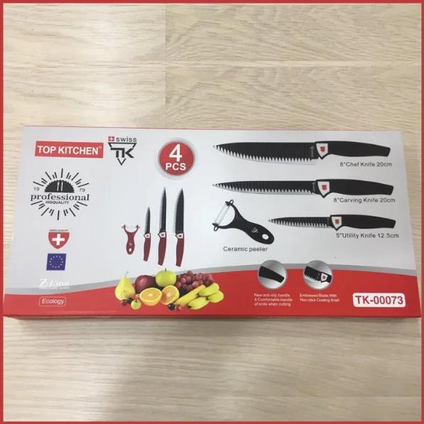 Набор кухонных ножей Top Kitchen ТК00073 универсальный 4 предмета ножи овощечистка красный