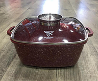 Кастрюля Top Kitchen ТК00056 с крышкой мраморное покрытие 28 см 6.7 л бордовый