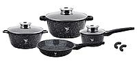 Набор кухонной посуды Top Kitchen ТК00075 из 11 пр. мраморное покрытие кастрюли ковш сковорода черный
