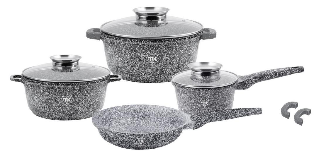 Набор кухонной посуды Top Kitchen ТК00075 из 11 пр. мраморное покрытие кастрюли ковш сковорода серый
