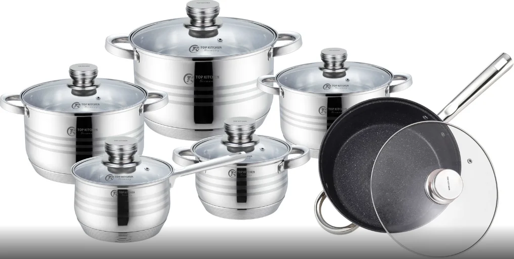 Набор кухонной посуды Top Kitchen ТК00010 из 12 пр. с антипригарным покрытием + набор ножей 6 пр.
