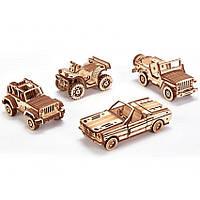 Набор машинок Wood Trick - механический 3д пазл, фото 1