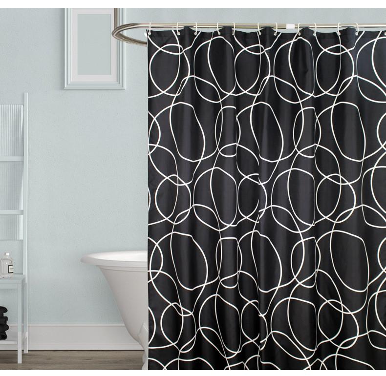 Черно-белая шторка для ванной Black & white