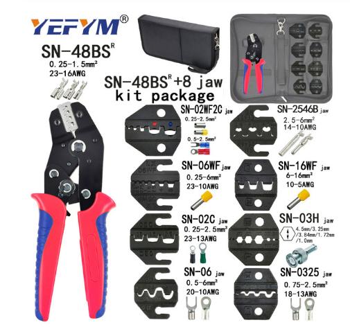 Крімпер кліщі для обтиску опресування наконечників клем 0.5-1.5 мм YEFYM SN-48BS + 8 змінних матриць