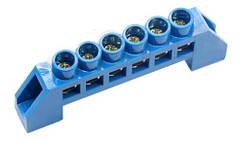 Шина нулевая в изоляторе синяя HC 6 * 9/6