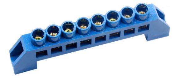 Шина нулевая в изоляторе синяя HC 6 * 9/8