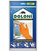 Перчатки латексные хозяйственные Doloni Household L оранжевые 4546