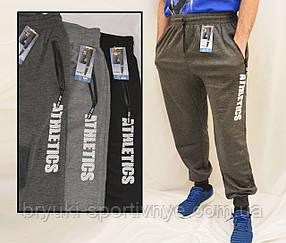 Штани спортивні чоловічі трикотажні під манжет Штани спортивні з принтом (Темно-сірий)