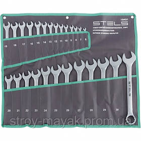 Набор ключей комбинированных 6-32 мм, 26 шт, CrV, матовый хром, Stels