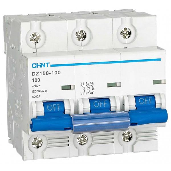 Автоматический выключатель DZ158-125 3P 125A тип К, 6kA, Chint