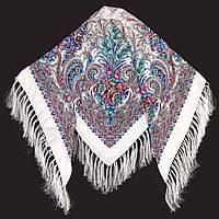 Хустка народна з бахромою (120х120) біла