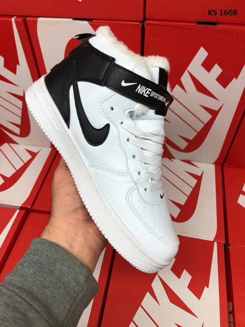 Мужские зимние кроссовки Nike Air Force 1 07 Mid LV8 (бело-черные) KS 1608