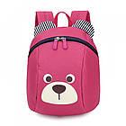 Детский рюкзак мягкий для девочки Мишка  малиновый Код Ф-3