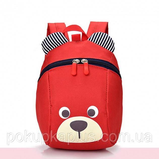 Детский рюкзак мягкий для девочки Мишка красный Код Ф-4