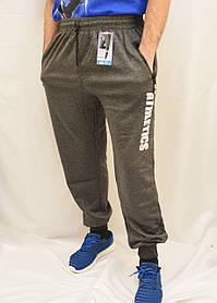 Брюки спортивные мужские трикотажные под манжет Штаны спортивные с принтом 5XL Темно-серый