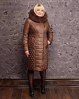 Женское зимнее пальто с натуральным мехом песца