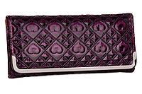 Женский модный 1014 фиолетовый кошелек на кнопке лакированный