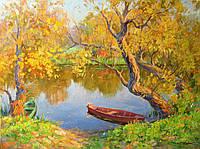 """Картина на холсте """"Золото осени. Лодки."""" масло"""