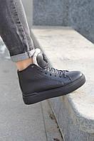 Ботинки кеды зимние из натуральной кожи женские, фото 1