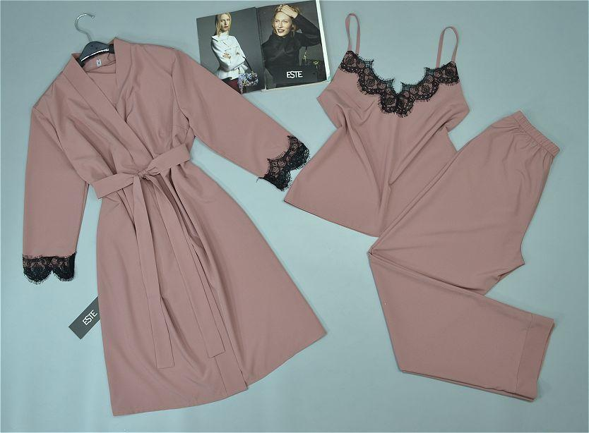 Комплект с кружевом халат и пижама ( майка+штаны). Домашняя одежда женская.