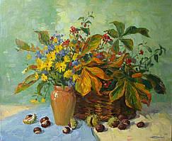 "Картина на холсте ""Осенний натюрморт с каштанами"" масло"